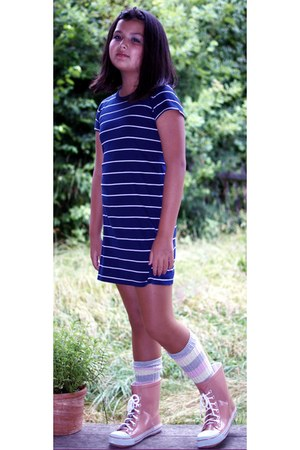 light pink humanic boots - navy Polo dress