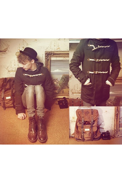 backpack bag - brogue boots H&M boots - duffle coat asos coat