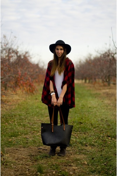 red thrifted cape - gray suede Nine West boots - black wide brim H&M hat