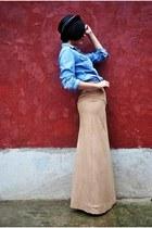 nude selfmade skirt - blue Moschino blouse