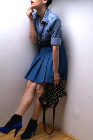 blue Moschino blouse - blue Zara shoes - blue vintage skirt