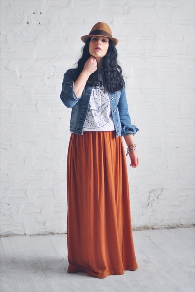 carrot orange selfmade skirt - blue denim Guess jacket - white Terranova shirt
