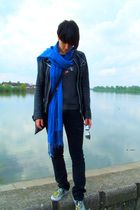 blue scarf - black jacket