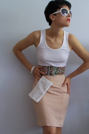 white t-shirt - beige skirt - white accessories