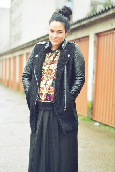 black Sheinside coat - black Sheinside sweatshirt