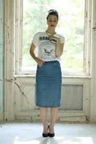 white Terranova shirt - navy Esprit skirt - black vintage heels