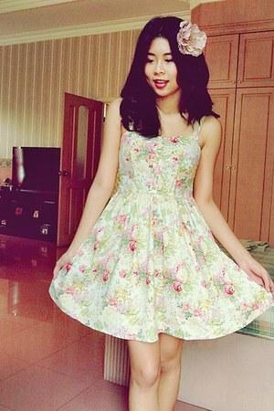ivory floral dress vintage dress