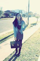 black vintage bag - sky blue spring Forever 21 jacket - black H&M top
