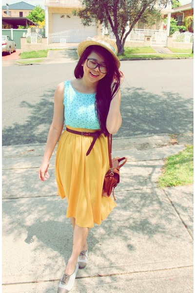 yellow vintage skirt - light brown asos shoes - light blue Accent dress