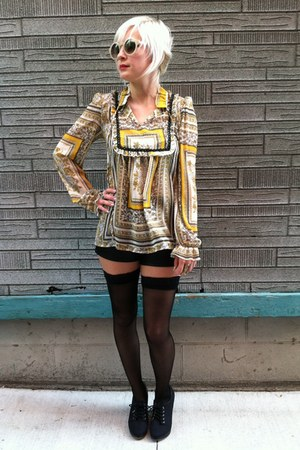 black thigh high vintage tights - yellow thrifted blouse