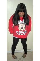 red Forever 21 sweater - black Forever 21 leggings - red Gap Kids shoes