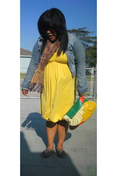 yellow dress - blue jacket - purple scarf