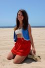 Blue-vest-white-bcbg-bra-red-american-apparel-skirt-gold-shoes