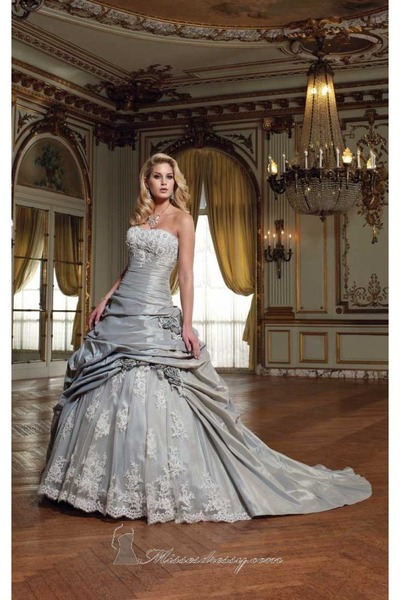 periwinkle David Tutera for Mon Cheri dress