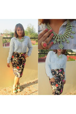 pastel Bazaar necklace - cocktail Aldo ring - floral print Zara skirt