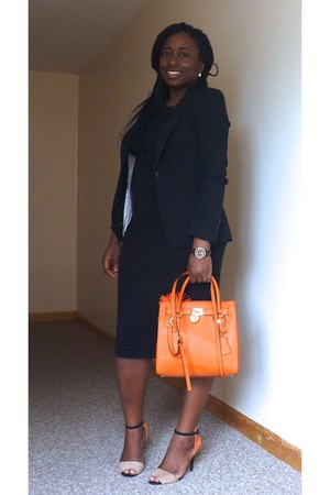 carrot orange Michael Kors bag - black new look dress - black H&M blazer