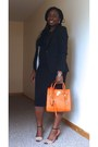 Black-new-look-dress-black-h-m-blazer-carrot-orange-michael-kors-bag