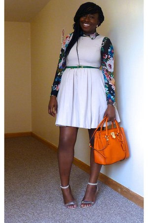 eggshell Zara dress - carrot orange Michael Kors bag - off white Primark sandals