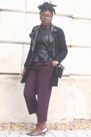 black Zara top - crimson Zara pants