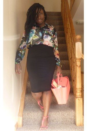 pencil skirt Primark skirt - black floral H&M shirt - t-bar next sandals