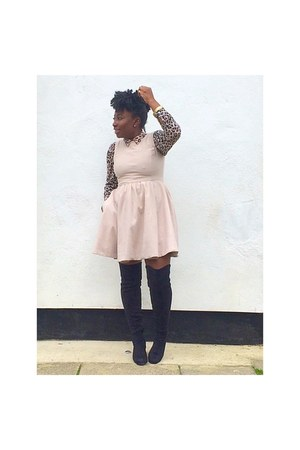 black next boots - neutral skater Zara dress - brown leopard print H&M shirt