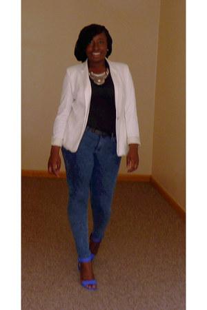 blue Schuh sandals - navy Primark jeans - ivory Zara blazer - black Primark top
