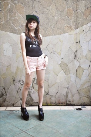 black American Apparel hat - bubble gum Stradivarius shorts - black H&M bodysuit