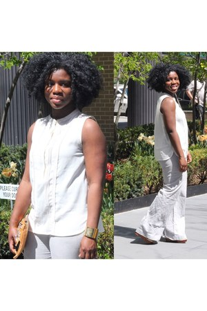 white pleated blouse - ivory linen pants