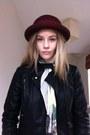 Ruby-red-burgandy-hat-vintage-hat-black-topshop-jacket