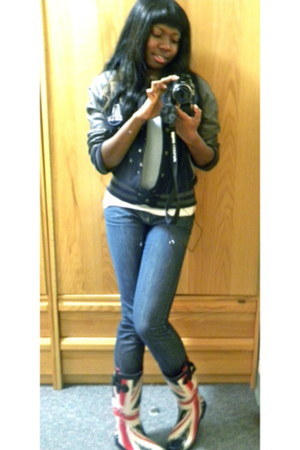 asos jacket - union jack boots - donna karen jeans