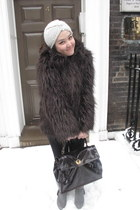 faux fur london coat - Topshop hat - YSL bag - black Zara pants