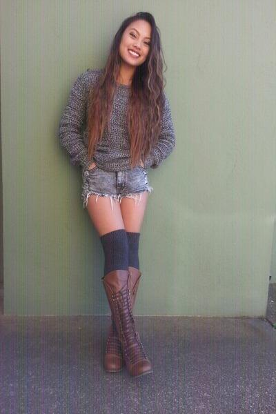 gray H&M socks - brown boots - heather gray black  grey f21 sweater