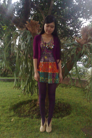 unbranded tights - unbranded dress - my hand made necklace - unbranded boots