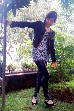 black blazer - gray dress - black leggings - black shoes