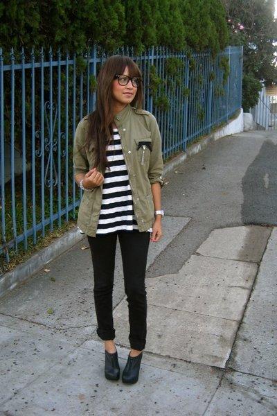 green parka Gap jacket - black skinny Kill City jeans - white shirt