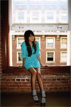 blue vintage dress - brown Nine West shoes - silver Target socks