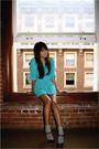 Blue-vintage-dress-brown-nine-west-shoes-silver-target-socks