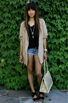 blue Abercrombie shorts - beige free people blazer - beige Piko top