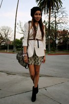 navy suede tila march paris boots - ivory paisley print Tolani dress - white Hel