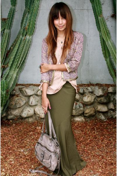 green f21 skirt - beige H&M shirt