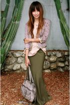 green f21 skirt - beige H&M shirt