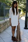 White-thrifted-dress-beige-free-people-blazer-brown-vintage-boots