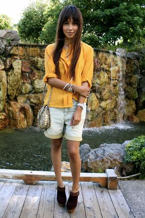 yellow vintage blouse - blue Quiksilver shorts - Steve Madden shoes