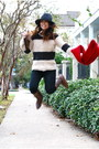 Brown-vintage-boots-navy-striped-the-gap-sweater