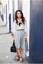 blue glitter Zara heels - silver sheer Gap shirt