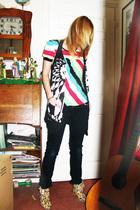 black Topshop cardigan - black new look pants - red H&M top - yellow shoes - bro
