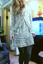 desigual dress - woolen tights - Punky Fish cardigan