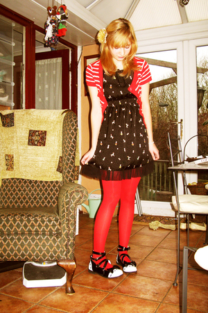 red Claires tights - black MButterfly dress - black GLP shoes - red F&amp;F cardigan