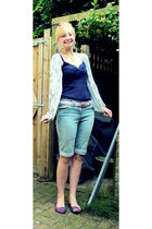 sky blue denim Matalan shorts - navy Matalan top