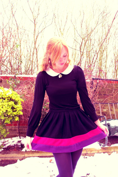 bubble gum Rocket Dog flats - black F&F dress - deep purple F&F tights